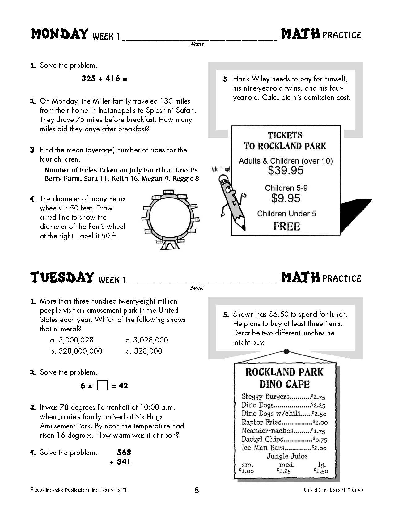 Worksheet 5th Grade Math Practice daily math practice 5th grade use it dont lose ip6130 it