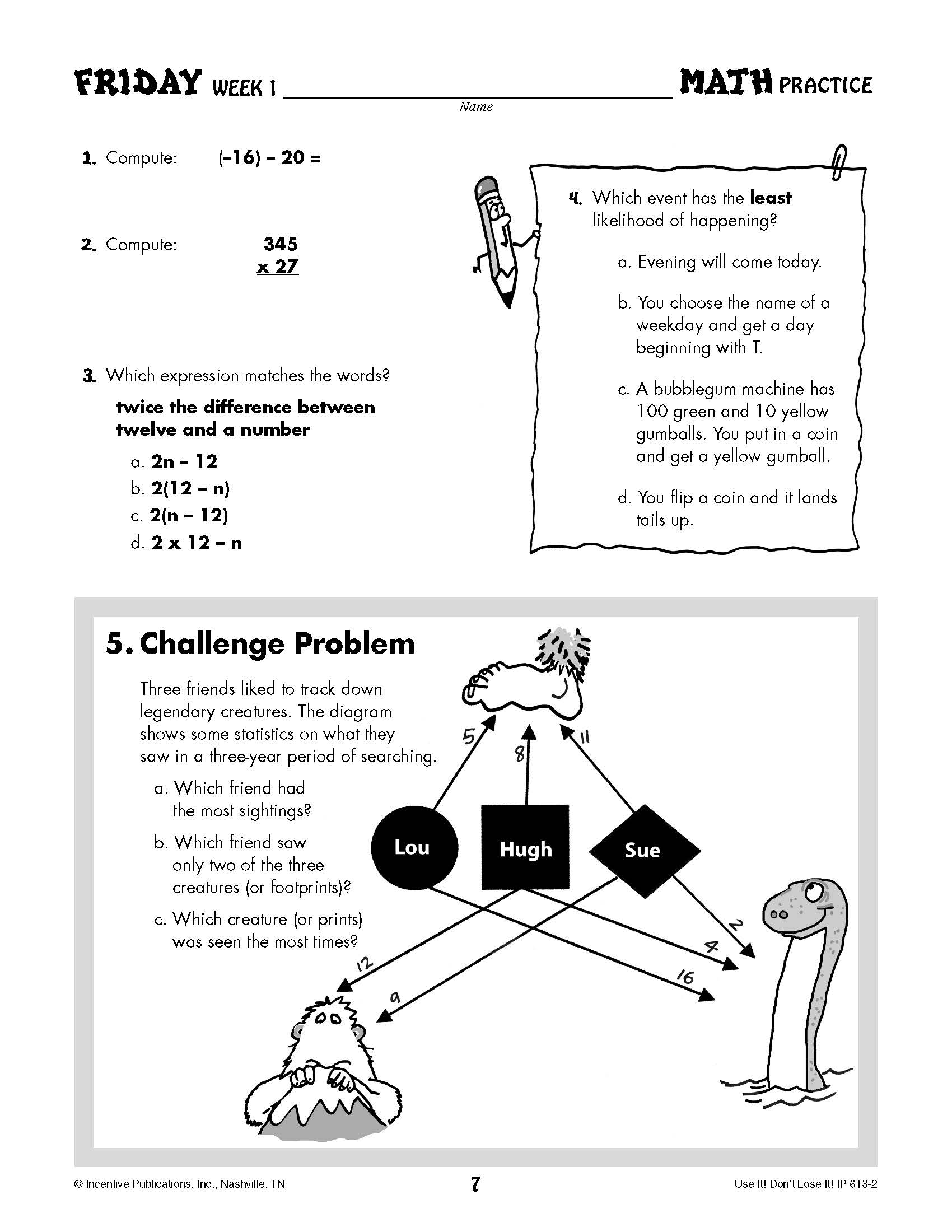 Daily Math Practice Grade 7: Use It! Don\'t Lose It! #IP6132 | World ...